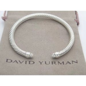 DY Pave Diamonds Tip Cuff Bangle 5mm Cable